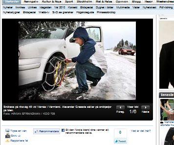 Skärmdump från SvD.se. Foto Håkan Strandman